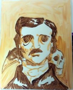 Edgar Allen Poe, 11x14, underpainting.
